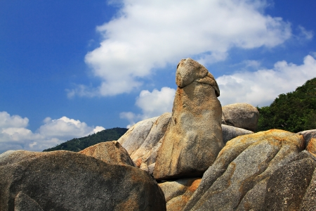 Bizarre rock Grandfather and Grandmother (Hin Ta Hin Yai) on Koh Samui island, very famous landmark