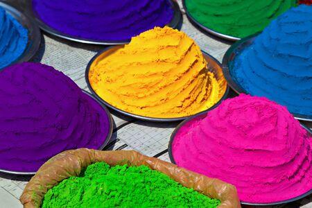 Indian colorful powder, market, India