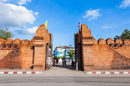 Tha Phae Gate of old city in Chiang Mai, Thailand