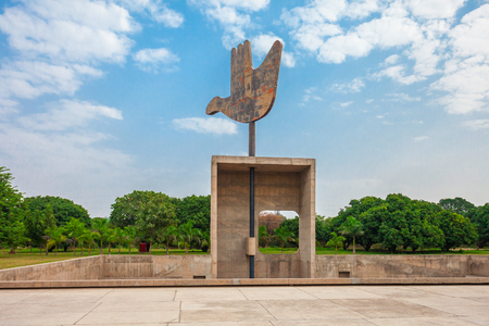 The Open Hand Monument is a symbolic structure located in the Indian Union Territory of Chandigarh, India,