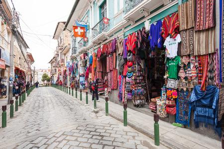 LA PAZ, BOLIVIA - MAY 17, 2015: Souvenir tourist market on Sagarnaga street in La Paz, Bolivia.