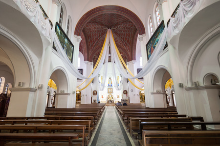 MINSK, BELARUS - MAY 06, 2016: Church of Saints Simon and Helena interior, also known as the Red Church is a Roman Catholic church on Independence Square in Minsk, Belarus.
