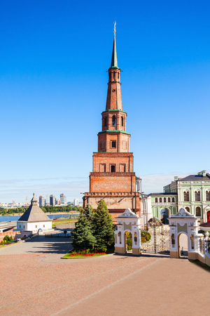 Suyumbike Tower also called the Khans Mosque of the Kazan Kremlin in Russia. Soyembika Tower the most familiar landmark and architectural symbol of Kazan Kremlin.