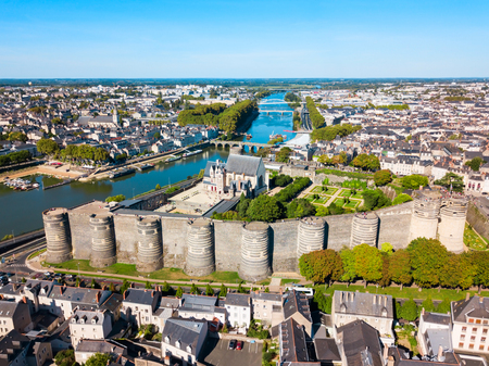 Foto de Angers aerial panoramic view. Angers is a city in Loire Valley, western France. - Imagen libre de derechos
