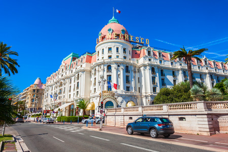 Photo for NICE, FRANCE - SEPTEMBER 27, 2018: The Hotel Negresco and restaurant Le Chantecler on the Promenade des Anglais in Nice city in France - Royalty Free Image