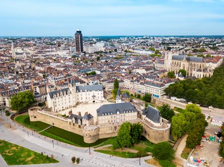 Photo pour Nantes aerial panoramic view. Nantes is a city in Loire-Atlantique region in France - image libre de droit