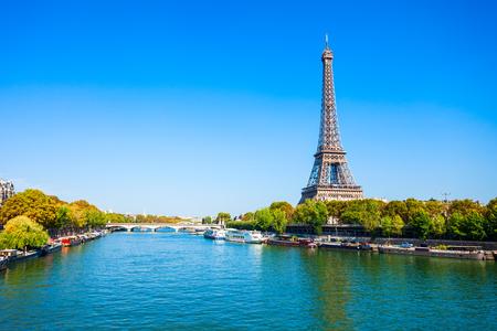 Photo pour Eiffel Tower or Tour Eiffel is a wrought iron lattice tower on the Champ de Mars in Paris, France - image libre de droit