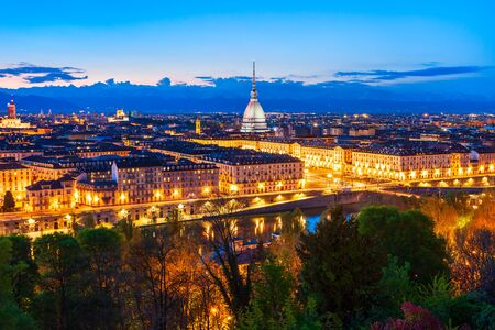 Photo pour Turin city aerial panoramic view, Piedmont region of Italy - image libre de droit