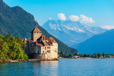 Photo for Chillon Castle or Chateau de Chillon is an island castle located on Lake Geneva near Montreux town in Switzerland - Royalty Free Image