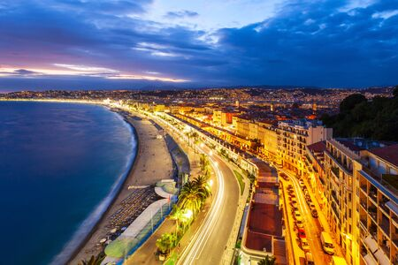 Photo for Nice aerial panoramic view. Nice is a city located on the French Riviera or Cote d'Azur in France. - Royalty Free Image