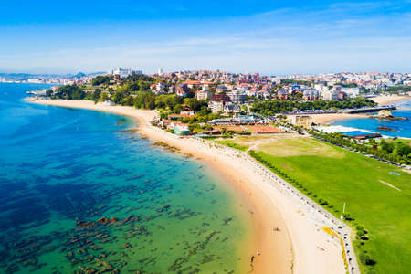Photo for Santander city beach aerial panoramic view. Santander is the capital of the Cantabria region in Spain - Royalty Free Image