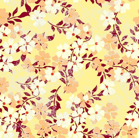 Vector a sample dance of flowers for textiles.