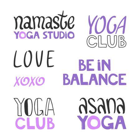 Illustration pour Namaste, yoga studio, love, xoxo, asana, club, balance. Sticker set collection for social media content. Vector hand drawn illustration design. - image libre de droit