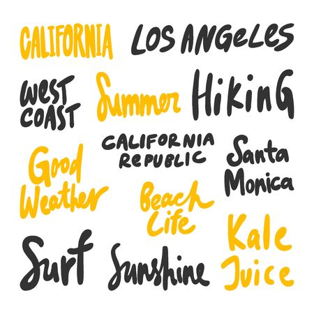California, Los Angeles, West, coast, Summer, Hiking, Surf, Sunshine, kale, juice, Santa, Monica. Vector hand drawn illustration collection set with cartoon lettering.
