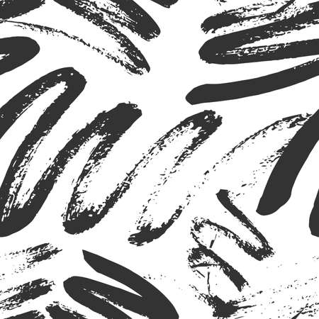Illustration for Monochrome Seamless Pattern for fabric design. Water splash paint splatter. Background texture old fabric. Ink paint Line vector. - Royalty Free Image