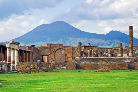 Ancient ruins of Pompeii and volcano Vesuvius, Italy