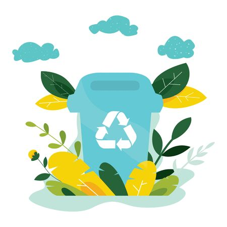 Illustration pour Ecology concept. Protect nature and ecology banner. Earth day. Garbage container with trees, plants. Vector illustration. - image libre de droit