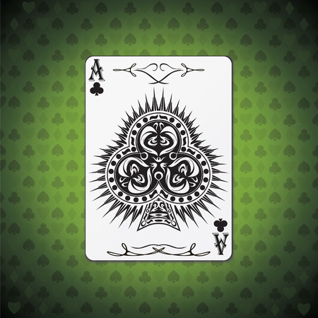 Ace of clubs poker card on green background