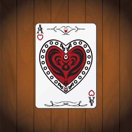 Ace of hearts poker card varnished wood background