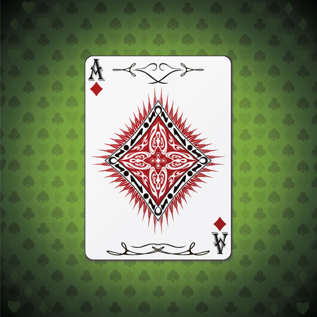 Ace of diamonds poker card on green background