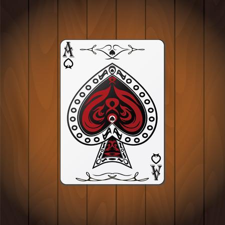 Ace of spades poker card varnished wood background