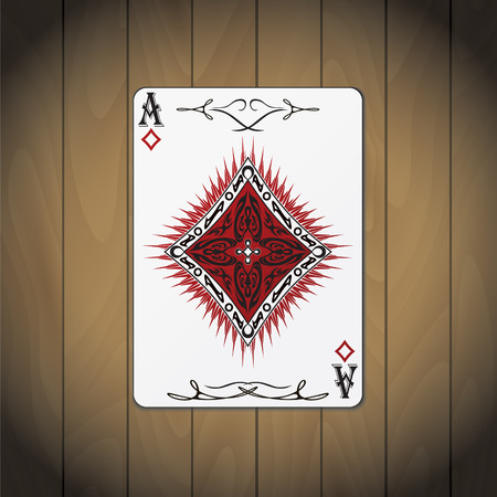 Ace of diamonds poker card wood background