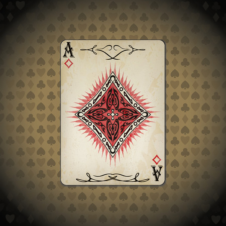 Ace of diamonds poker card old look