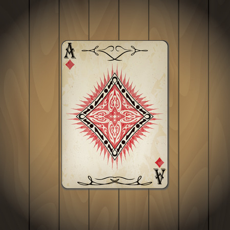 Ace of diamonds poker card old look wood background