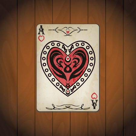 Ace of hearts poker card old look varnished wood background