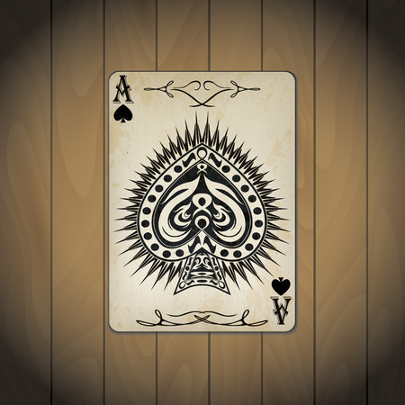 Ace of spades poker card old look wood background
