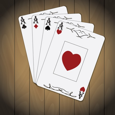 Ace of spades, ace of hearts, ace of diamonds, ace of clubs poker cards set varnished wood background