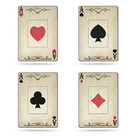 Ace of spades, ace of hearts, ace of diamonds, ace of clubs poker cards set old look isolated on white background