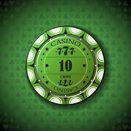 Poker chip nominal ten, on card symbol background.