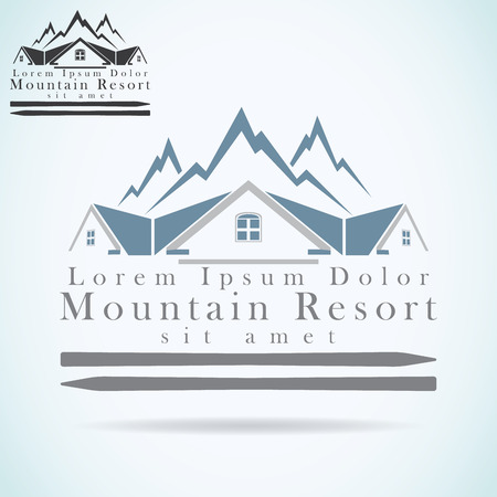 Mountain resort vector logo design template. rooftop icon. Realty construction architecture symbol.