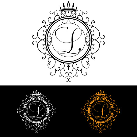 Letter L. Luxury Logo template flourishes calligraphic elegant ornament lines. Business sign, identity for Restaurant, Royalty, Boutique, Hotel, Heraldic, Jewelry, Fashion, vector illustration.
