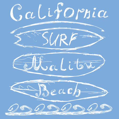 T-shirt Printing design, typography graphics Summer vector illustration Badge Applique Label California Malibu beach surf sign.