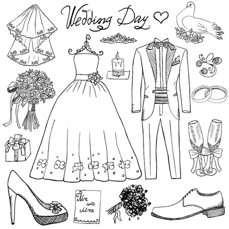 Wedding day elements. Hand drawn set with flowers candle bride dress and tuxedo suit, shoes, glasses for champaign and festive attributes. Drawing doodle collection, isolated on white backgroundのイラスト素材