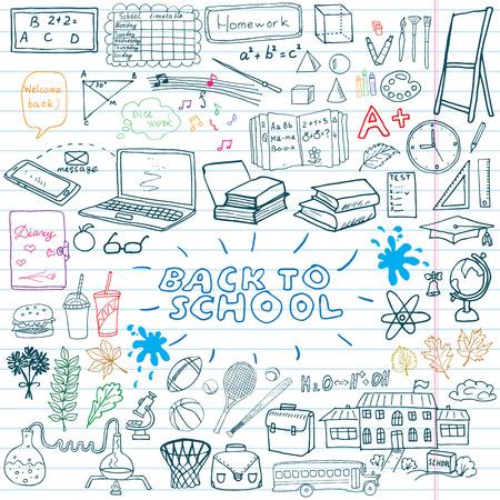 Back to School Supplies Sketchy Notebook Doodles set with Lettering, Hand-Drawn Vector Illustration Design Elements on Lined Sketchbook on chalkboard background.