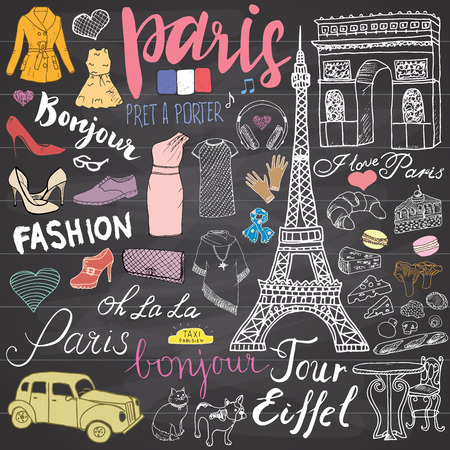 Illustration pour Paris doodles elements. Hand drawn set with eiffel tower bred cafe, taxi triumf arch, Notre Dame cathedral, facion elements, cat and french bulldog. Drawing doodle collection, on chalkboard. - image libre de droit