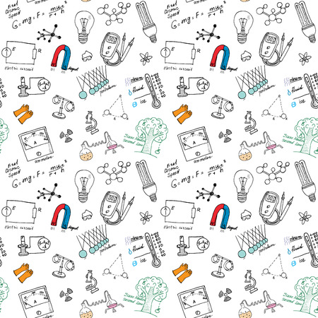 Ilustración de Physics iand sciense seamless pattern with sketch elements Hand Drawn Doodles background Vector Illustration. - Imagen libre de derechos