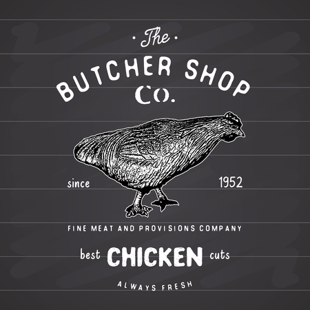 Butcher Shop vintage emblem, chiken meat products, butchery Logo template retro style. Vintage Design for Logotype, Label, Badge and brand design. vector illustration on chalkboard.