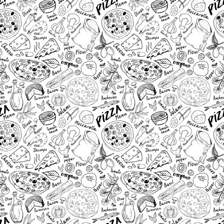 Ilustración de Pizza seamless pattern hand drawn sketch. Pizza Doodles Food background with flour and other food ingredients, oven and kitchen tools. - Imagen libre de derechos