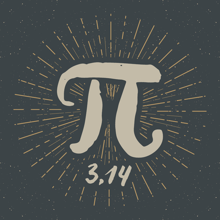 Pi symbol hand drawn icon, Grunge calligraphic mathematical sign, vector illustration.
