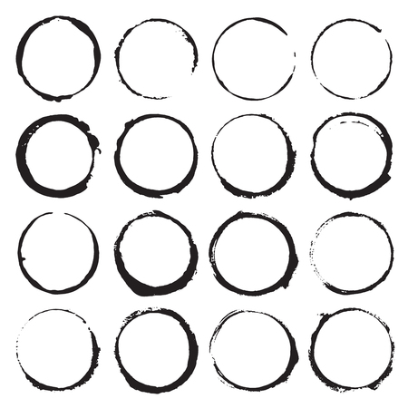 Illustration for Round Frames, grunge textured hand drawn elements set, vector illustration. - Royalty Free Image