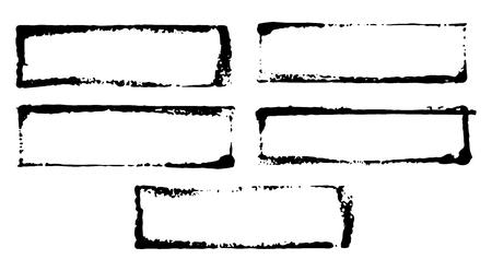 Illustration pour Frames and text boxes, grunge textured hand drawn elements set, vector illustration. - image libre de droit