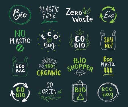Illustration pour Eco and Bio Hand Drawn labels Set. Calligraphic Letterings with eco friendly sketch doodle elements. Vector illustration. - image libre de droit