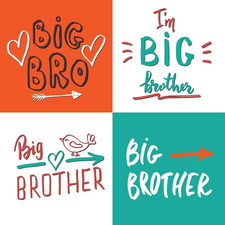 Illustration for Big brother, Calligraphic Letterings signs set, child nursery printable phrase set. Vector illustration. - Royalty Free Image