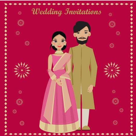 Photo pour indian couple in wedding invitations card. - image libre de droit