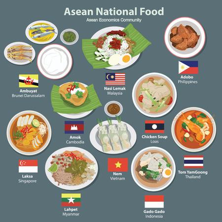 Vektor für Asean Economics Community AEC food - Lizenzfreies Bild