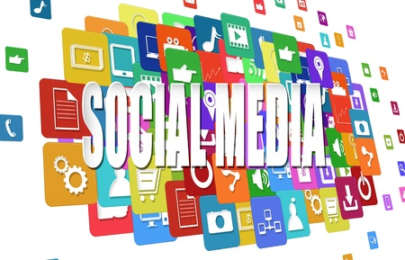 Photo for Social media word symbol with colorful application icon - Royalty Free Image